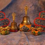 TIBETAN BELL and DORJE SETS - Gold plated.